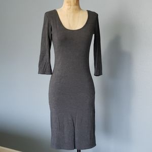 Gray figure hugging stretchy sexy Jersey dress